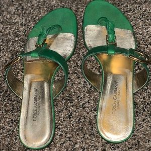 Dolce & Gabbana Sandals - Green & Gold size 37